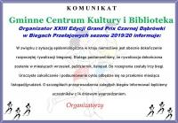 Komunikat Organizatora XXIII Edycji Grand Prix Czarnej Dąbrówki